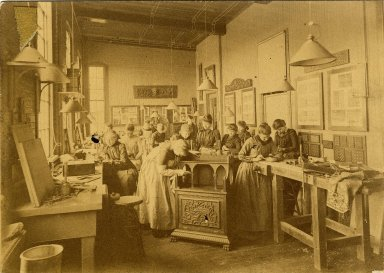 [Class in Woodcarving Miss Cunningham, About 1900]